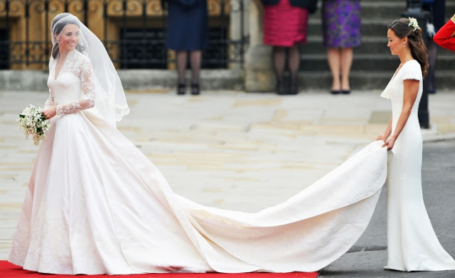 Kate Middleton's dress along with her sister Pippa's were designed by Sarah Burton, the successor to the Alexander McQueen label and design house (image source: Vogue )