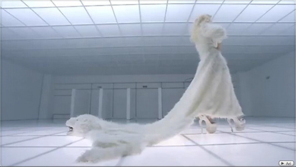 """Lady Gaga also wore a McQueen design for a wedding dress in her""""Bad Romance"""" video. Perhaps a slightly more avant-garde vision than Kate's dress (screen grab)."""