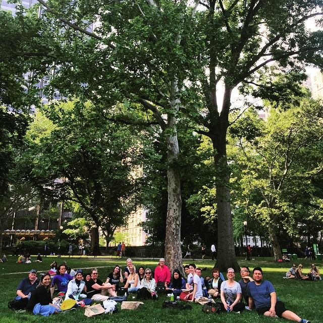 Recreating our very own  Le dejeuner sur l'herbe   (Luncheon in the Grass) in Central Park on Day 3. The weather has been beautiful and cooperative so far.