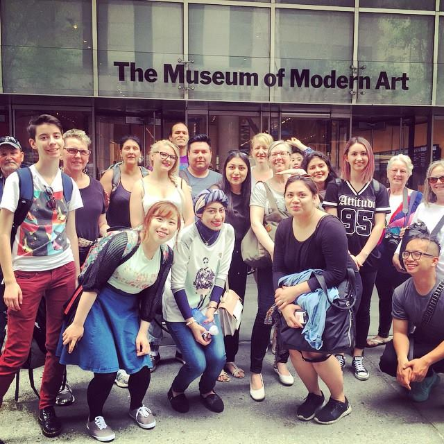 The group poses in front of the Museum of Modern Art-- Pauline in the foreground!