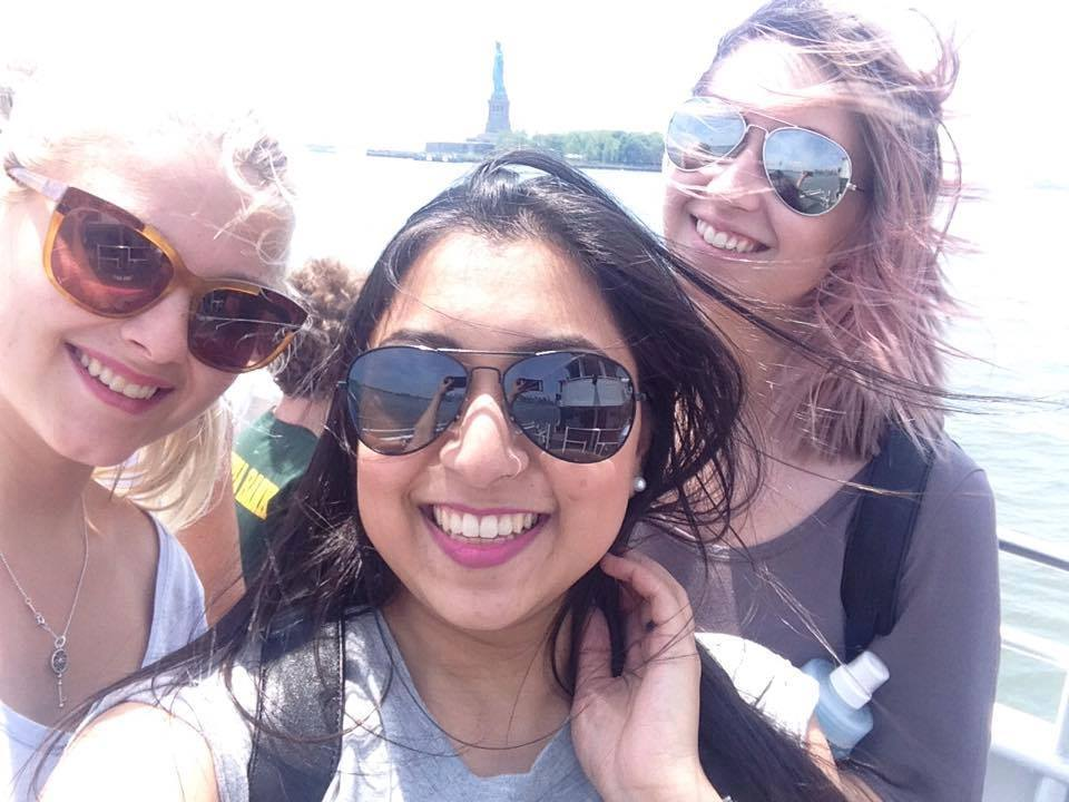 """Olivia, Jessica, and Michelle, aka """"the Fashion Girls"""" are all in the Fashion Technology and Design Program at KPU. Here they are on the boat tour of New York City."""