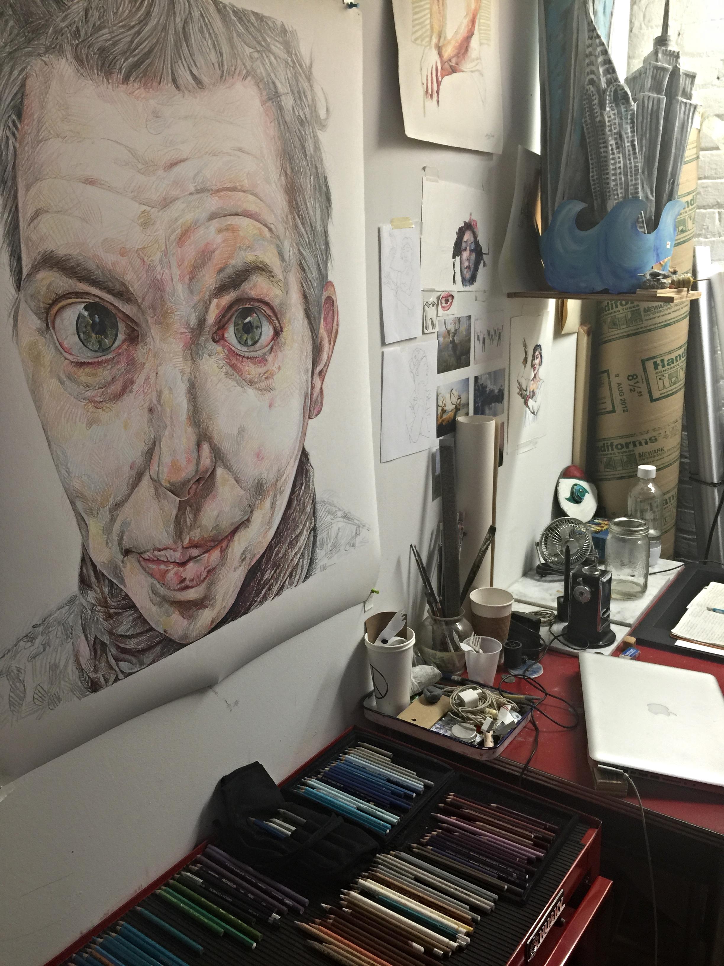 A shot captured inside Maya Seuss's studio space in the Gowanus neighbourhood of Brooklyn.