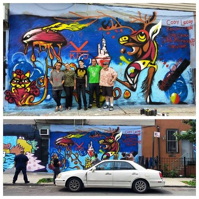 Larry (at far right in top photograph) participated in a painting a street art mural during Bushwick Open Studio weekend-- the students had arranged with the building owner to create the art work, and is located close to their hostel in Brooklyn.