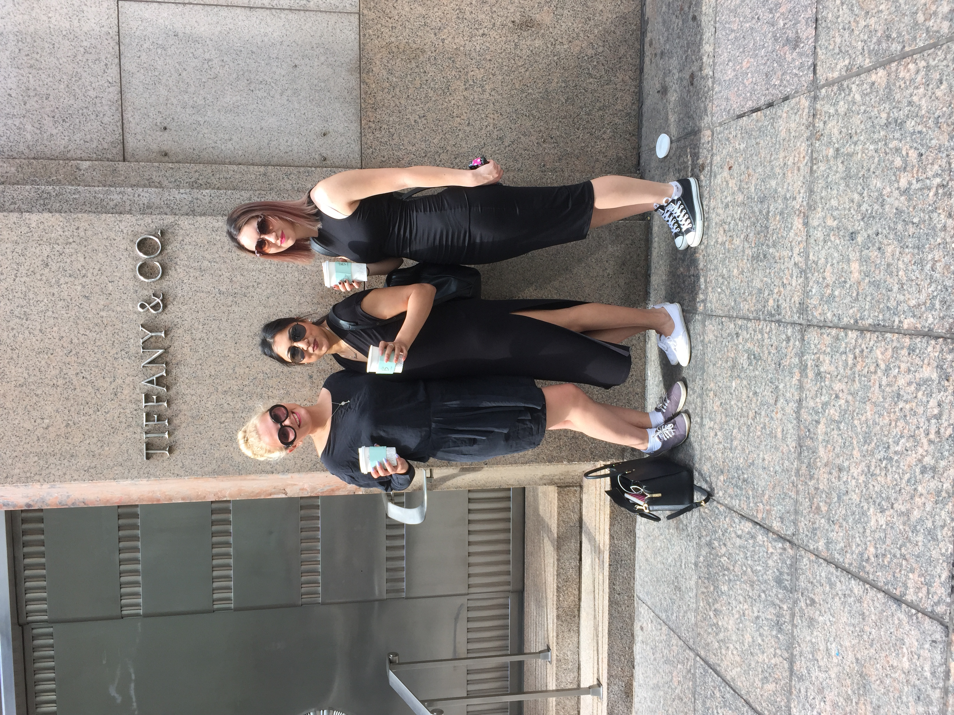 """The """"fashion girls""""-- Olivia, Jessica, and Michelle, reenacting Breakfast at Tiffany's by, what else, having breakfast in Audrey Hepburn outfits outsideTiffany's on 5th Avenue."""