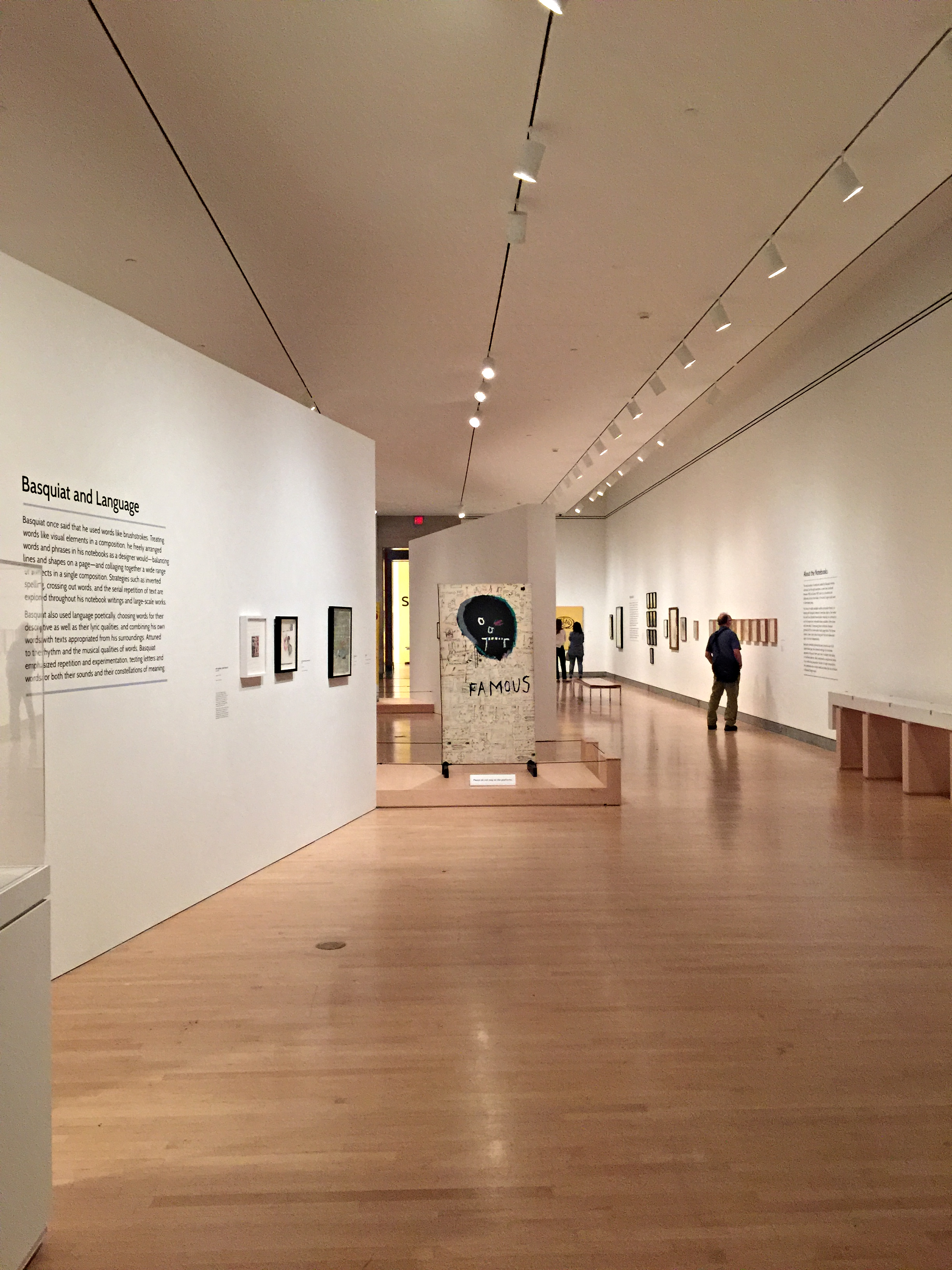 "An interior shot of the Basquiat exhibition ""The Unknown Notebooks."""