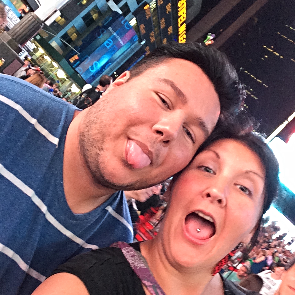 Roxanne and James having fun in New York'sTimes Square!