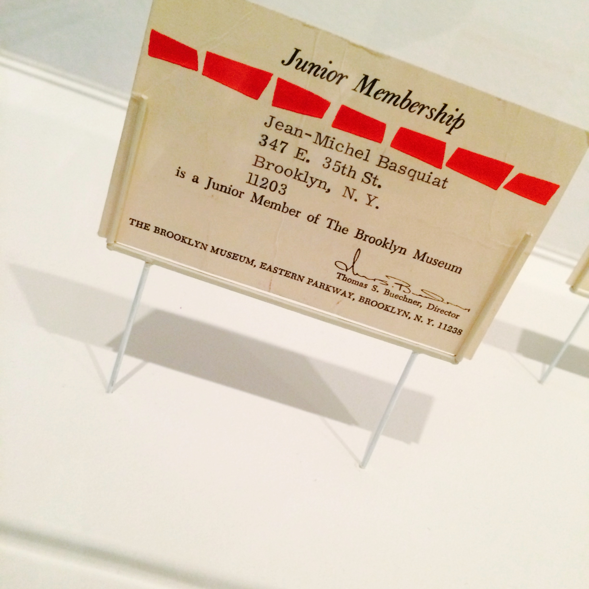 Among the archival treasures at the Brooklyn museum was this original junior membership to the museum that belonged toJean-Michel Basquiat.