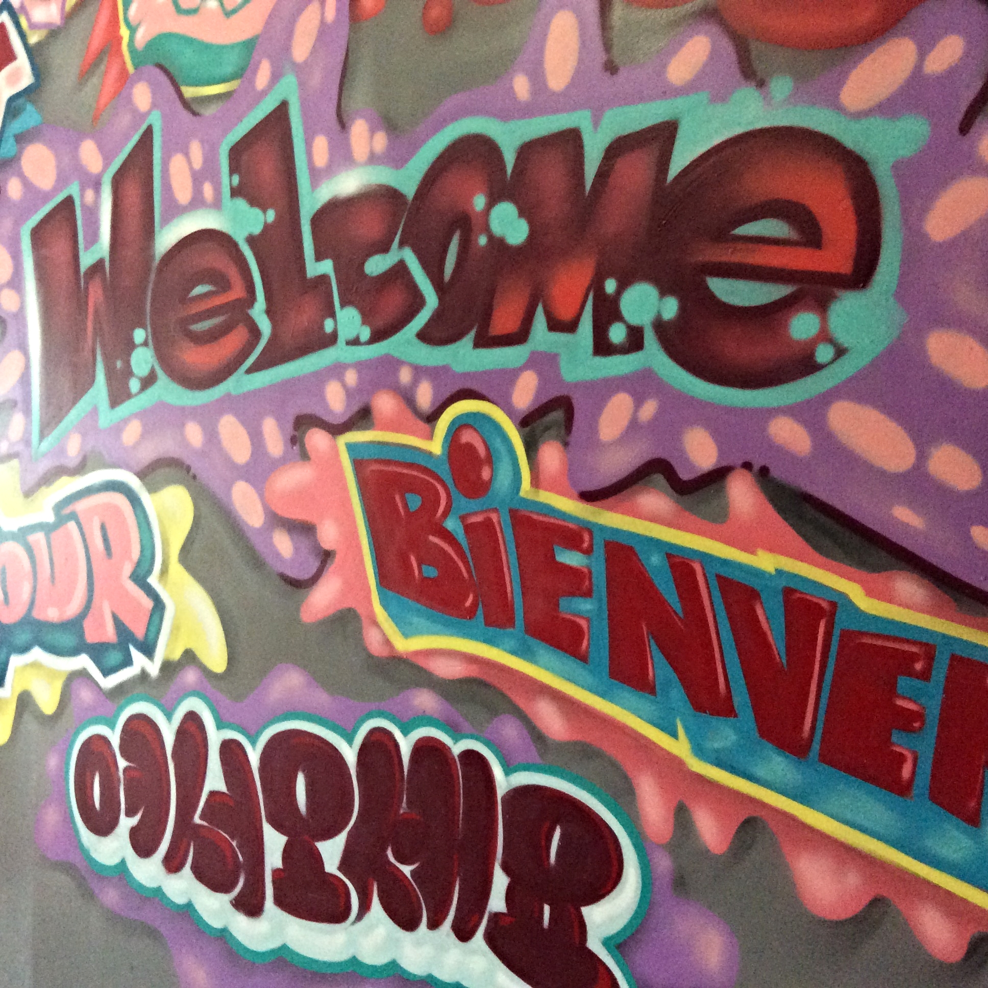 Graffiti and street art are in great abundance both at the hostel and in the immediate neighbourhood around the hostel. This image captures amultilingual welcome to New York.