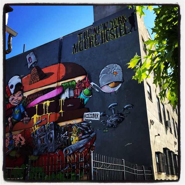 An outside shot of the student's home while in New York-- the New York Moore Hostel in Williamsburg, Brooklyn.
