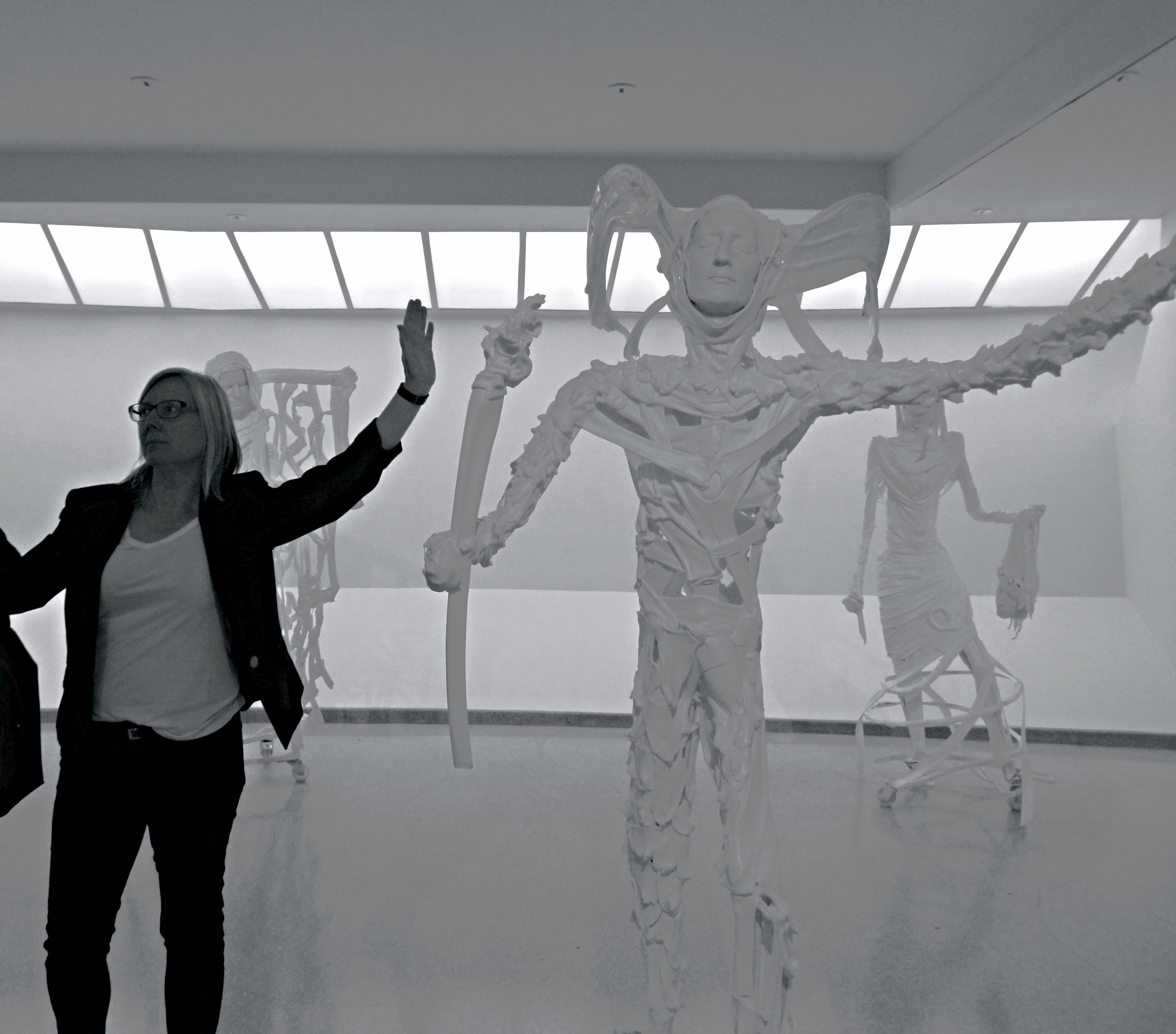 Here is Angela at the Guggenheim Museum, posing alongside some of the contemporary art on exhibition.