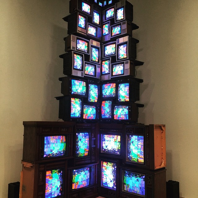 Nam June Paik, V-yramid  (1982), visited at the new Whitney Museum, New York during this past summer's NYC/Venice Biennale Field School.