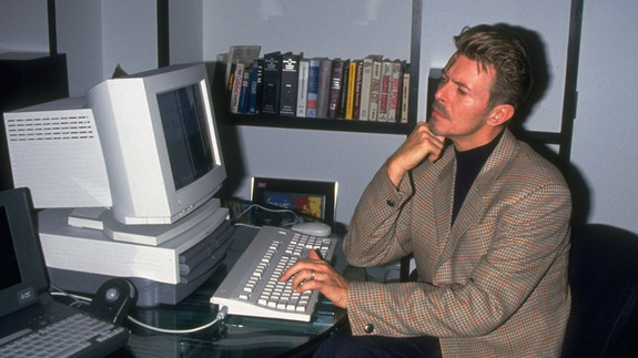 David Bowie (1947-2016), a pioneer of the Internet age and a truly avant-garde artist. Here he is operating a desktop computer in 1994, only a few years from the creation of BowieNet-- see the article in my weekly round up discussing this new media history moment.