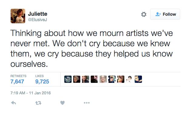 """Why we grieve artists we've never met, in one tweet"""