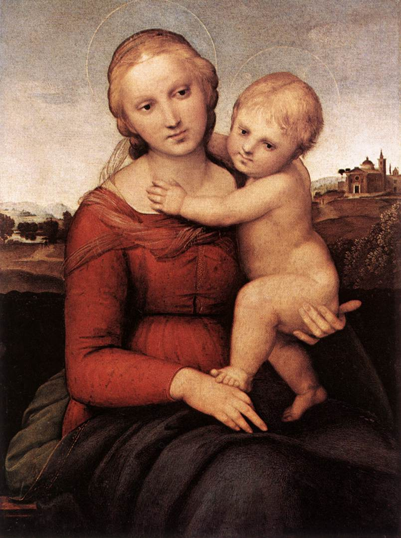 Raphael,  Small Cowper Madonna  (1505) The theme of mother and children in visual art is a universal story that is part of the Western Judeo tradition.