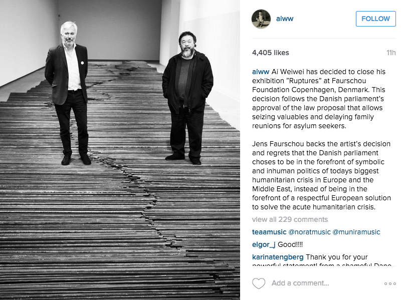 """Ai Weiwei Withdraws Art from Two Danish Museums in Protest of Controversial Immigration Law"""