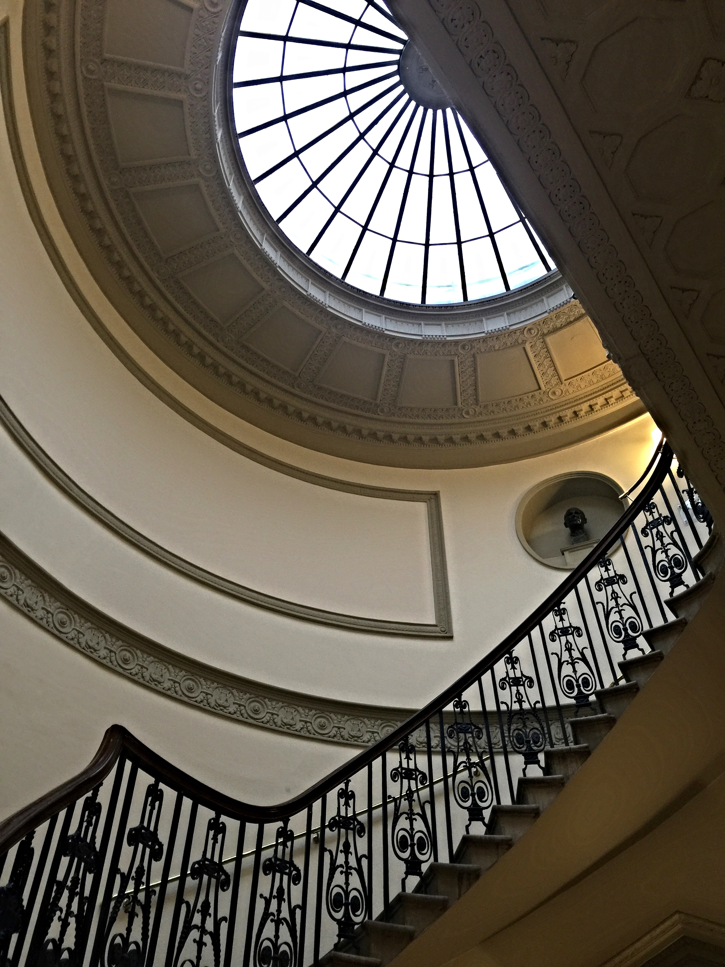 The stairway leading up to the many galleries of the Courtauld provides an intimate encounter with the art on display.