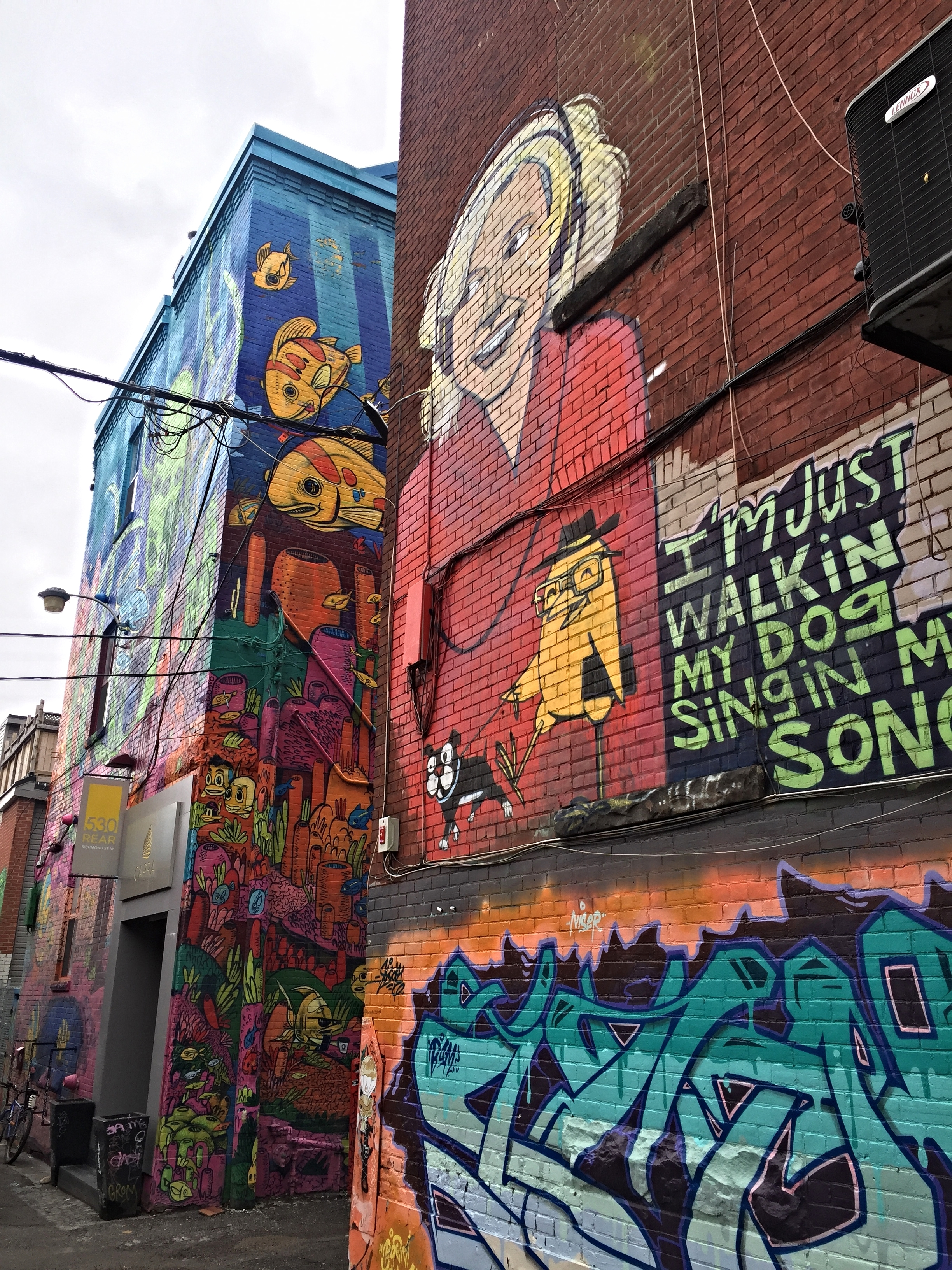 """The quantity and quality of street art in Toronto is fantastic-- I spent quite a bit of time checking out the area around Queen Street West dubbed """"Graffiti Alley"""" by the locals."""