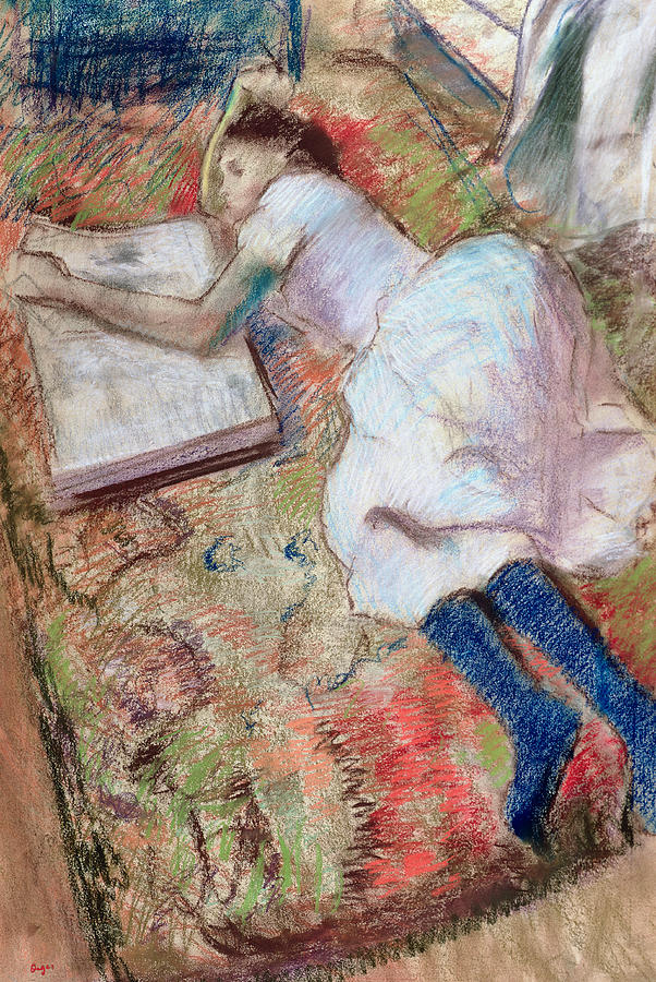 """Edgar Degas, Young Girl Reading On The Floor  (1889)-- Degas is the focus of a solo exhibition at the MoMA  """"Edgar Degas: A Strange New Beauty"""" and is reviewed by Roberta Smith in one of my chosen links of the week."""