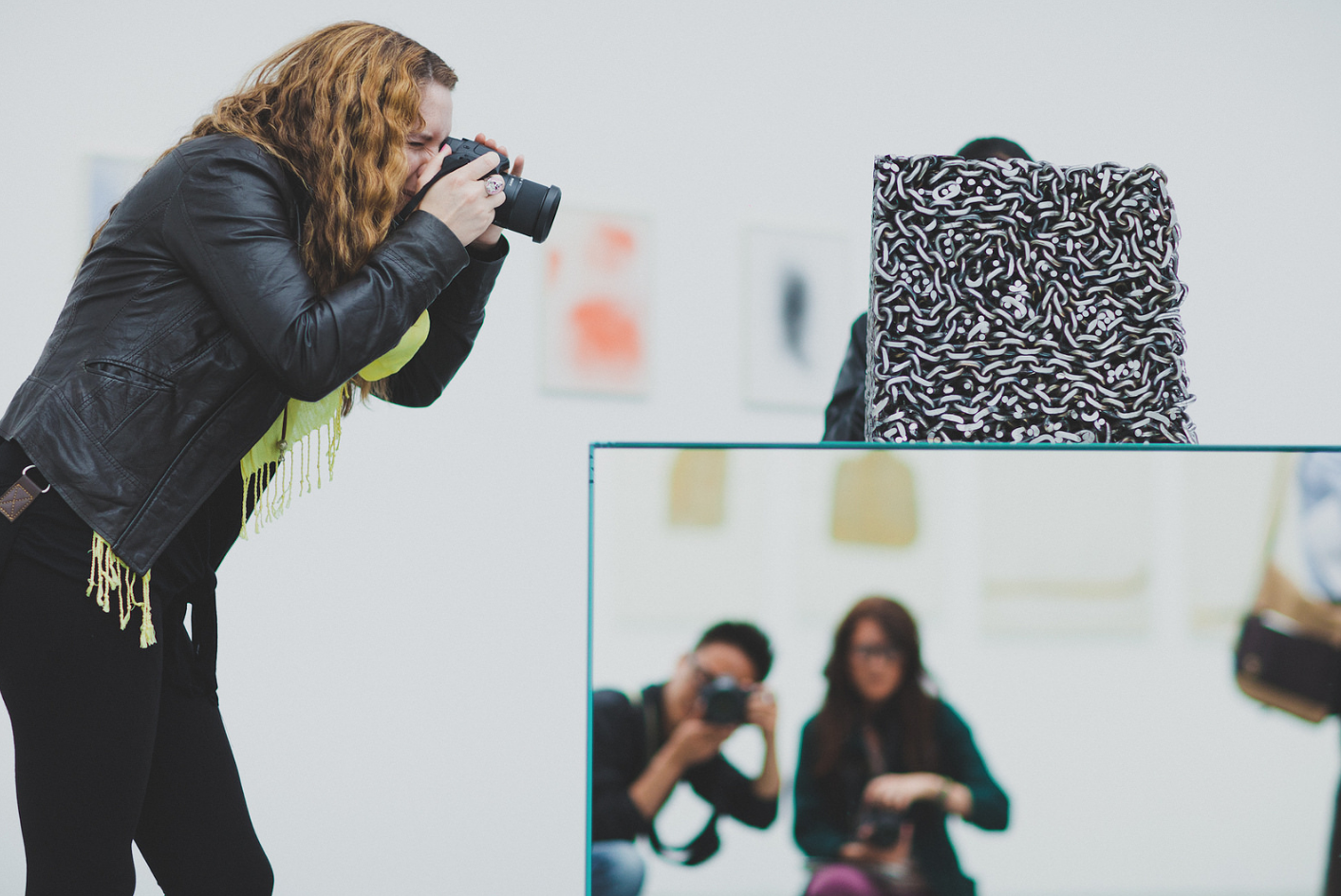2012 Field School participant  Shelly Leroux  captures an image of a contemporary art work at the Palais de Tokyo in Paris. Photo courtesy of  Kyubo Yun -- spot him in the cubed mirror!