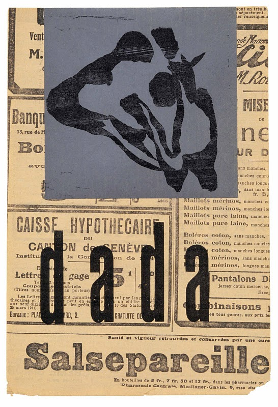 Hans Arp,  Manifesto Poster  (c. 1920). Arp was born this week in 1886 and was a founding member of the Dada movement.