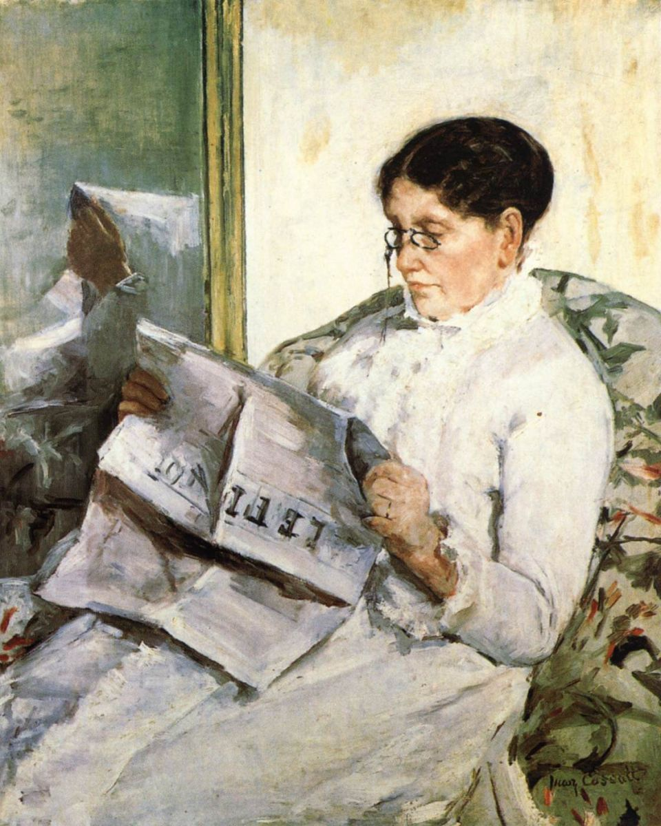 American artist Mary Cassatt painted the iconic  Reading Le Figaro  in Paris in 1878. Women of France (shockingly) had to wait until 1944 to be able to vote.