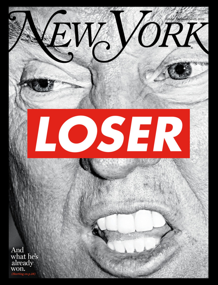 """""""On the Cover: Donald Trump by Barbara Kruger for the Election Issue"""""""
