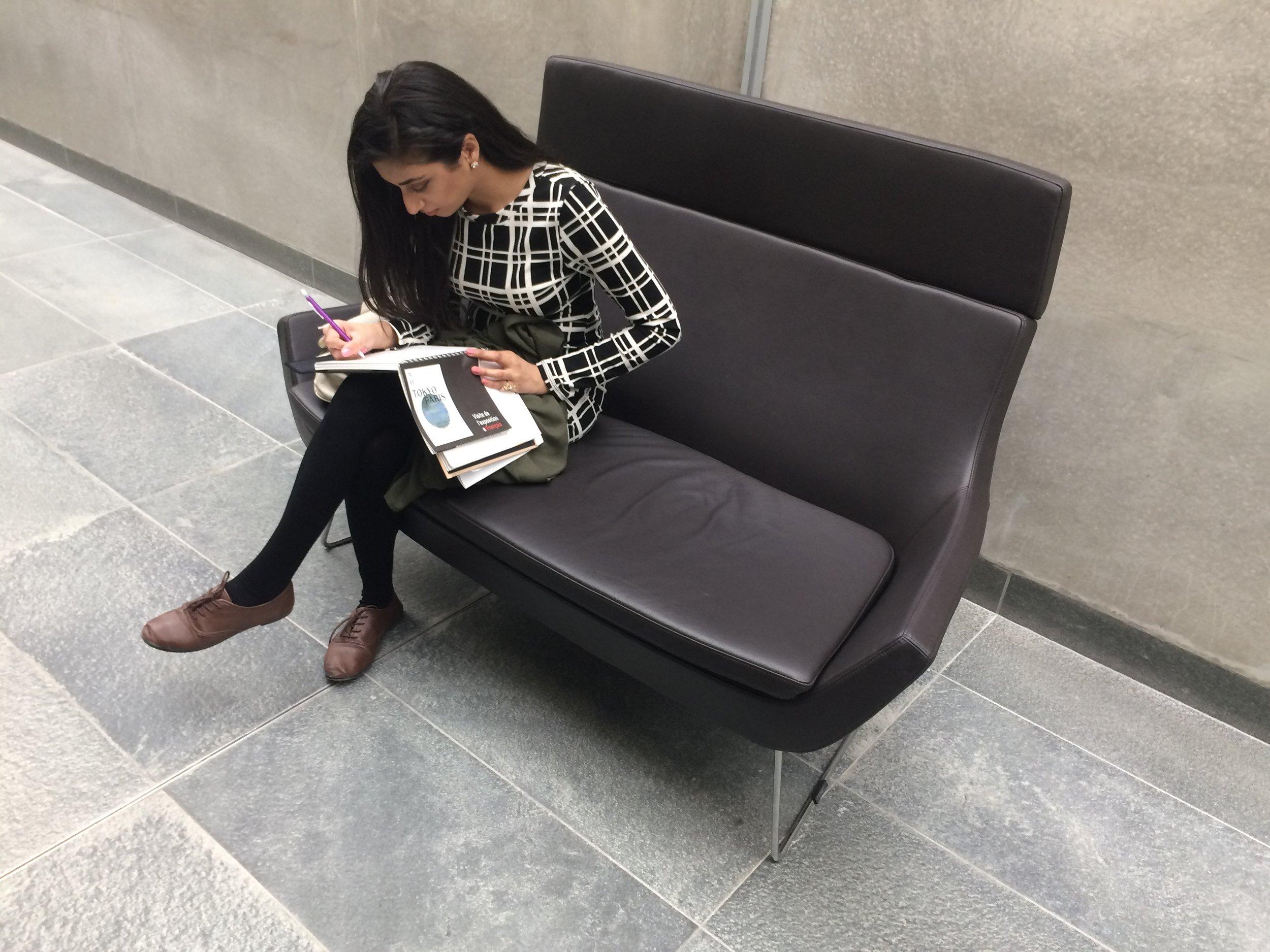 Gurleen sketching at the Orsay Museum, the focus of much of our attention while in Paris