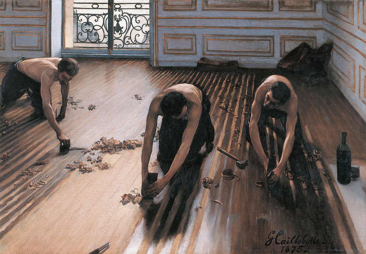 Gurleen worked with her assigned painting Gustave Caillebotte, The Floor Scrapers  (1875) on her studio projects before seeing the work in person in Paris.