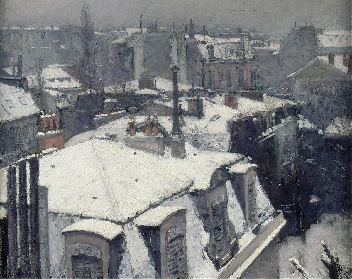 Zoe was assigned Gustave Caillebotte's  Rooftops in the Snow  (1878) to work with from the Orsay collection.