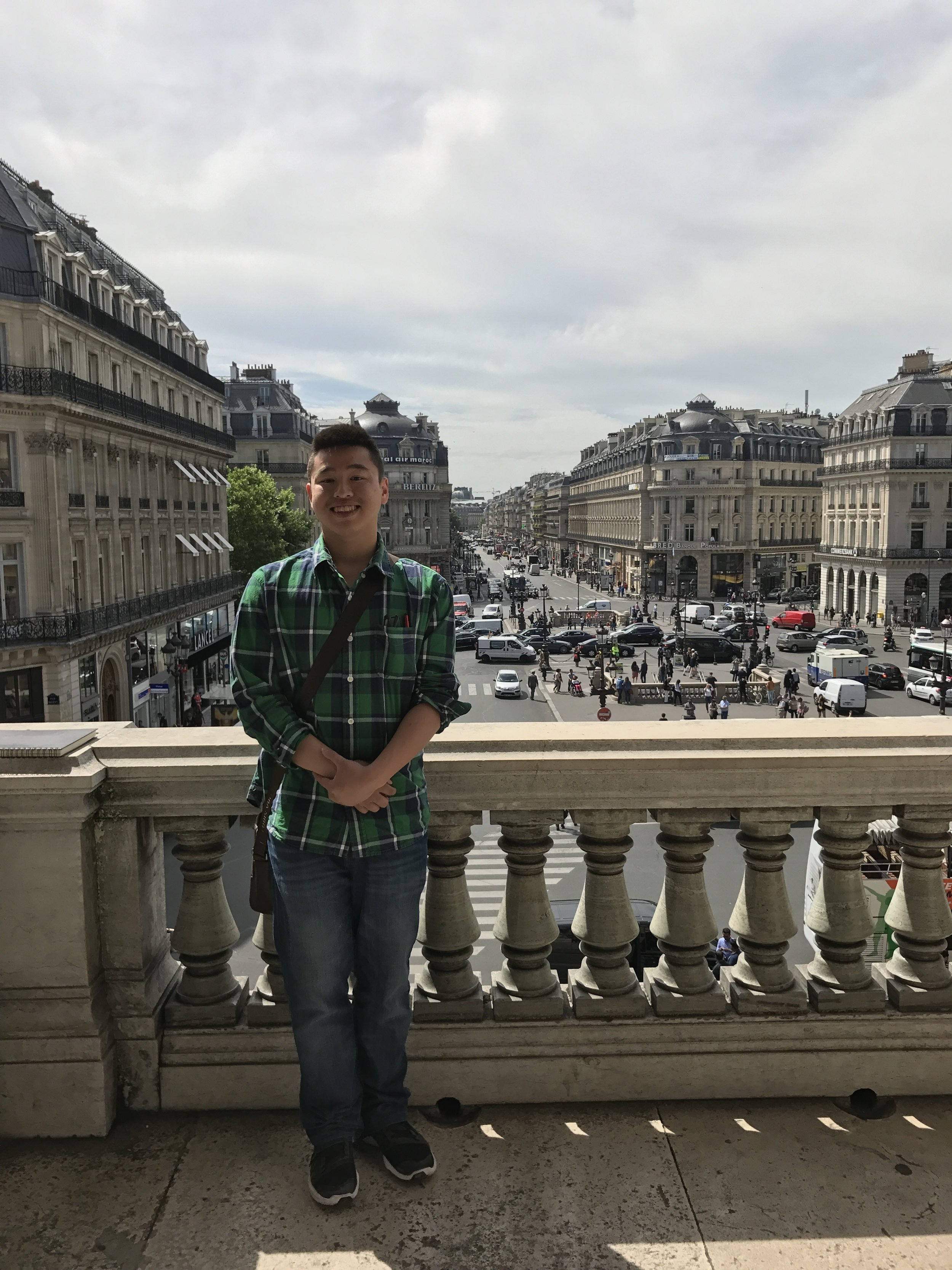 Nielsen enjoying the view of the Haussmannized streets from the Paris Opera House.