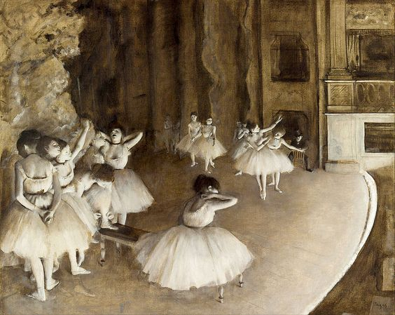 Edgar Degas's  Ballet Rehearsal on Stage  (1874) was Tiffany's assigned image from the Orsay Museum.
