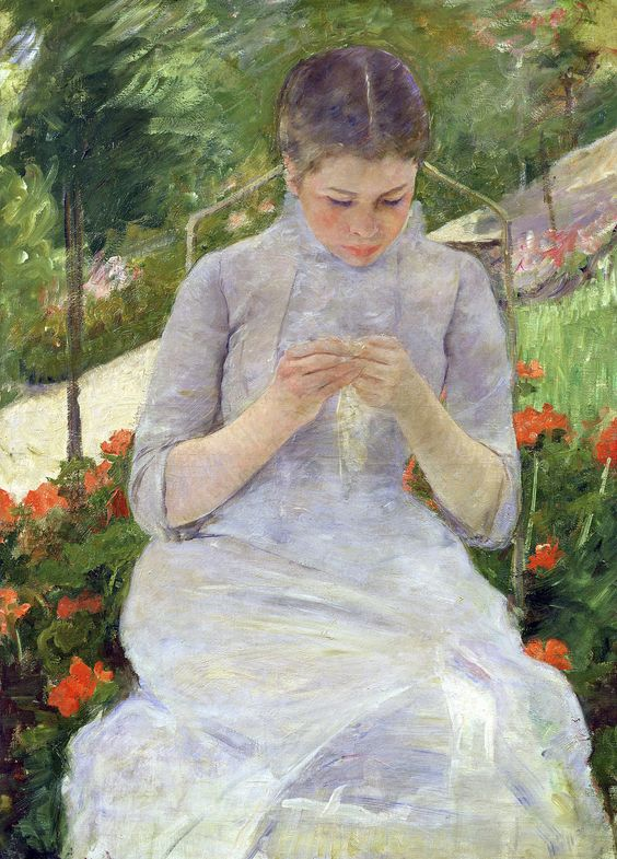 Josie was assigned Mary Cassatt's  Young Girl Sewing in the Garden  (1880) from the Orsay collection to dialogue with in her art projects.