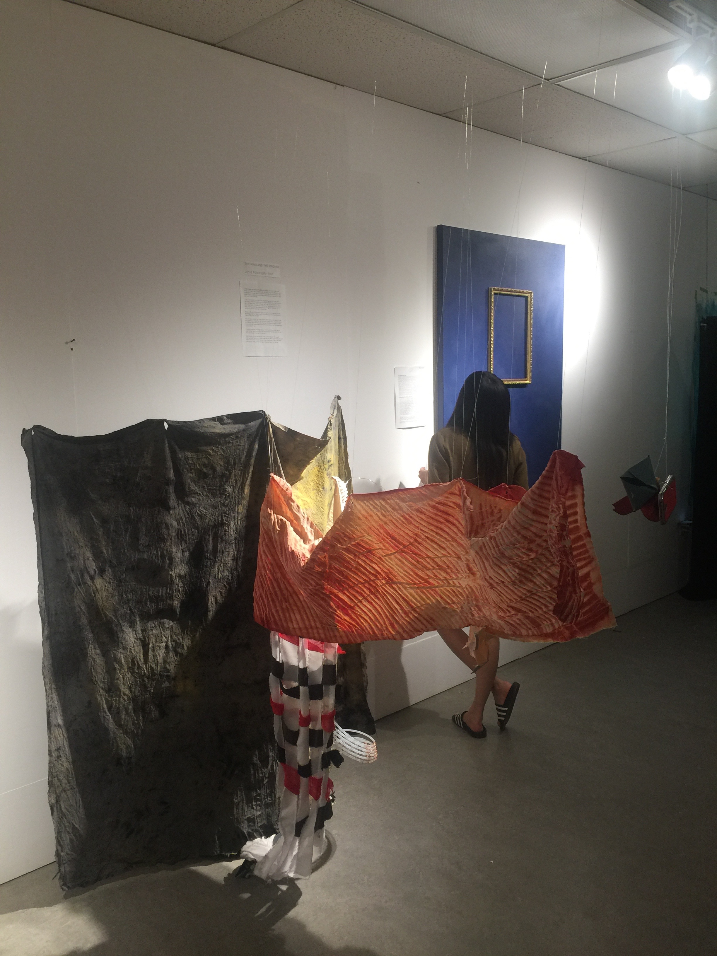Josie's project (in foreground) featured an installation with fabrics that she dyed herself to reimagine the colour palette of the Cassatt painting.