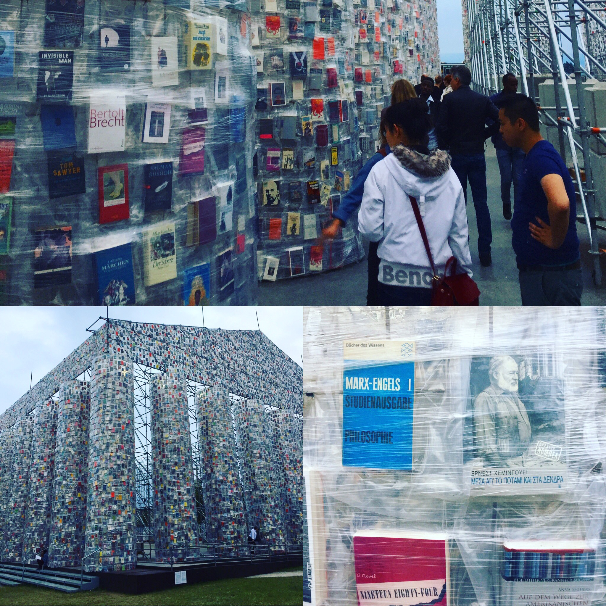Getting a closer look at the Parthenon of Books by Marta Minujin featuring formerly or currently banned books from all over the world.