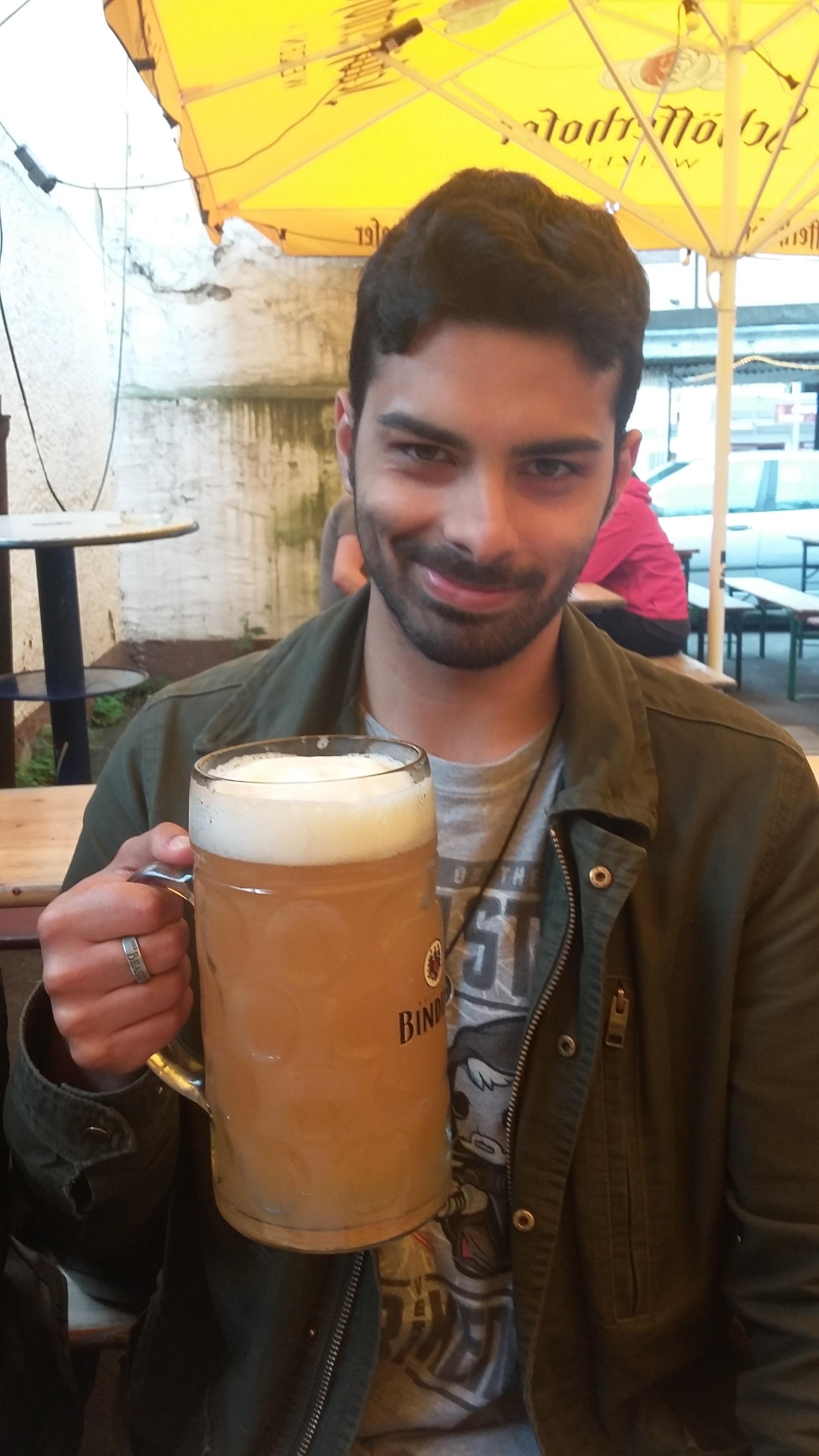 Stephane enjoying the local beverage of choice at Documenta!