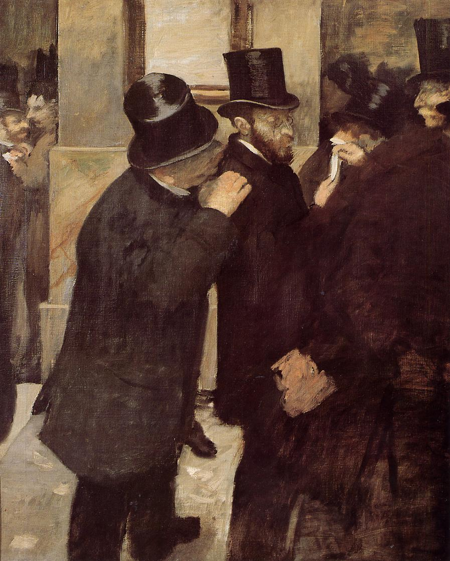 Kate was assigned Edgar Degas's  Portraits at the Stock Exchange  (1878 – 1879) from the Orsay collection.