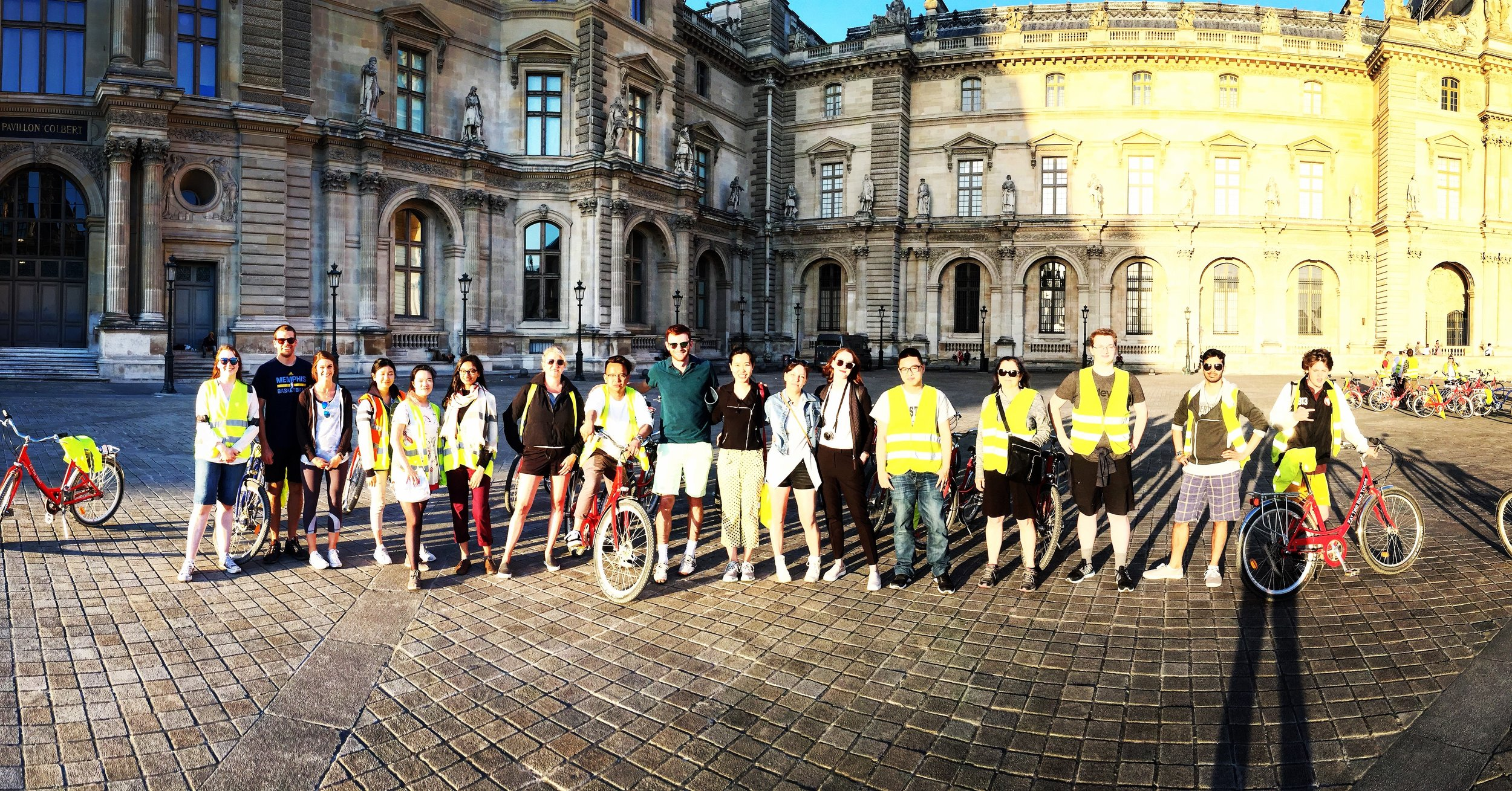 Group photo with the field school students on the night of the memorable bike tour (Dorothy pictured seventh from the left).