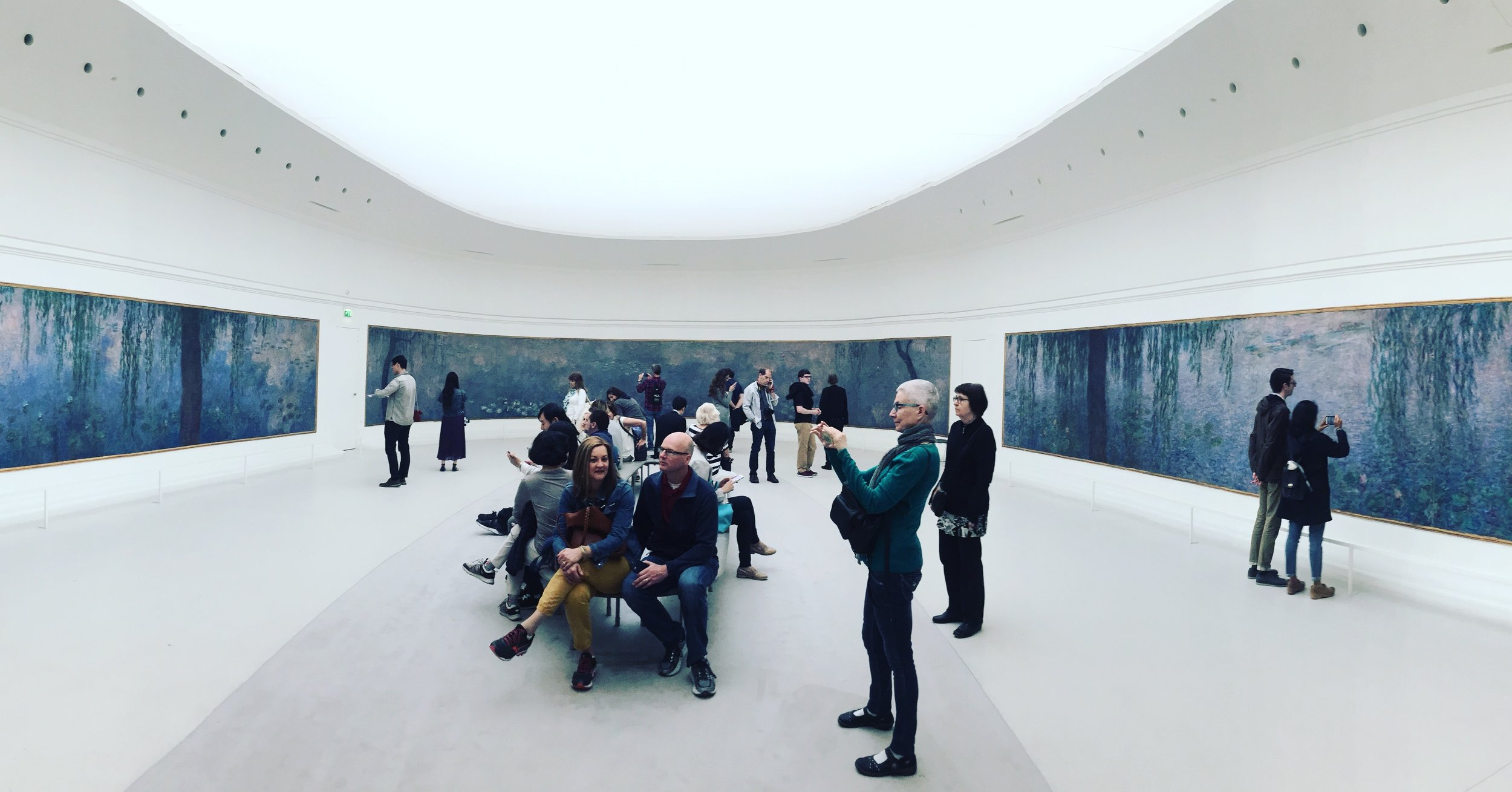 Capturing 180 degrees of Monet at the L'Orangerie Gallery in Paris.