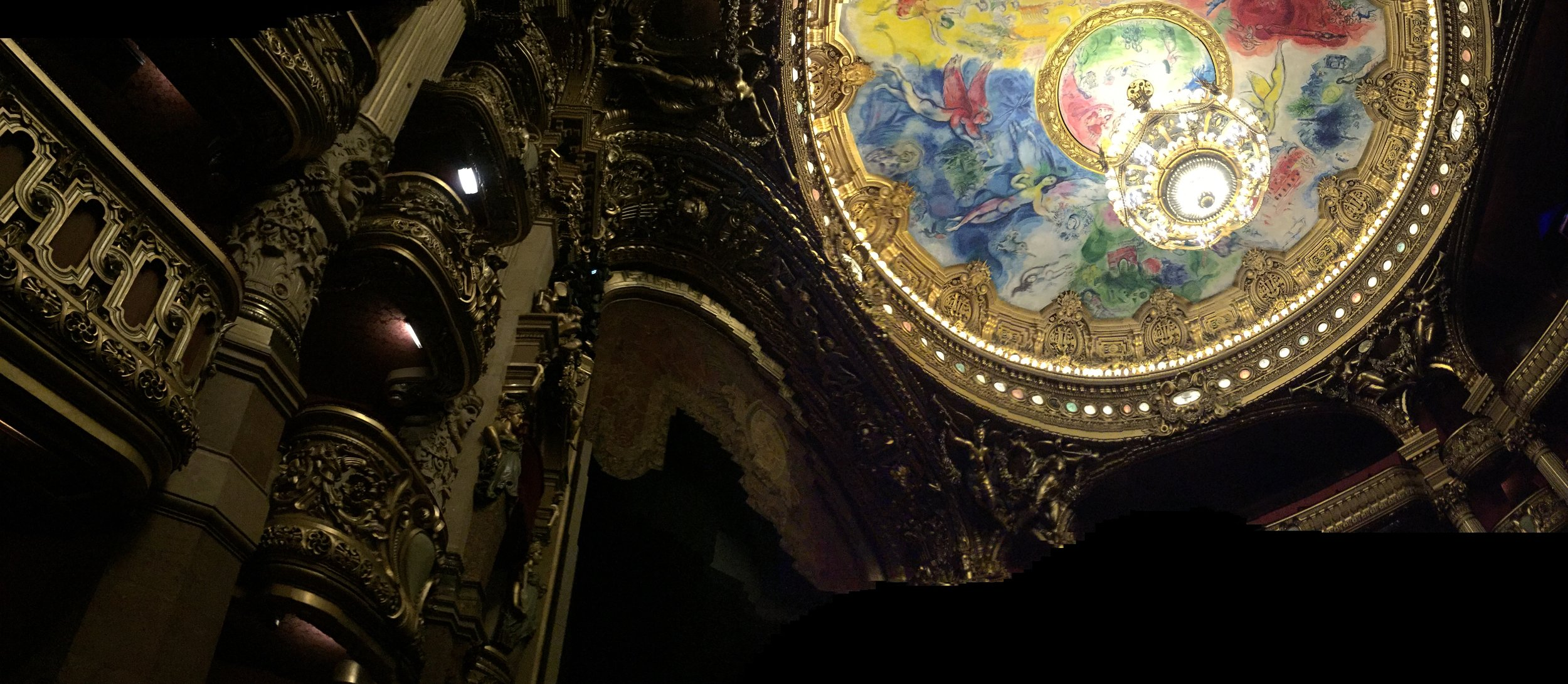 Looking up to see Chagall at the Paris Garnier Opera House.