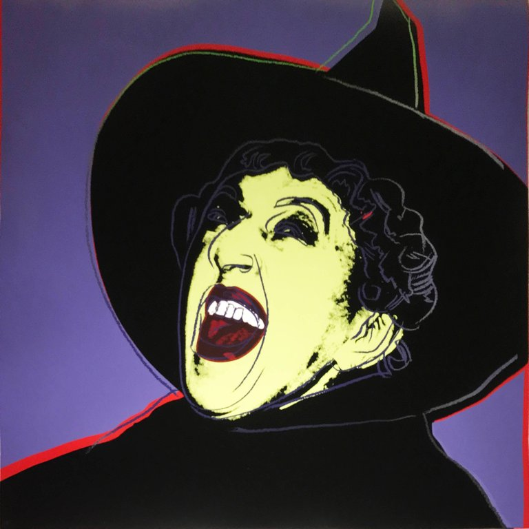 Andy Warhol, The Witch (from the Myths Portfolio) (1981) Screenprint in colors with diamond dust on Lenox Museum Board 38 x 38 in. (96.52 x 96.52 cm.)Signed and numbered in pencil on the reverse. Edition 82/200. Current bid $25,000US on artnet.com, ending October 31.