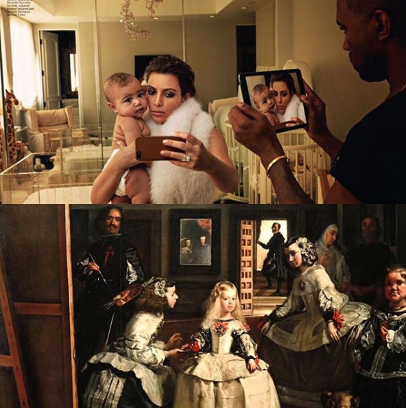 From one of my favourite new Instagram accounts,  TabloidArtHistory : Kim Kardashian, North, & Kanye in their 2014 Vogue spread, and Detail of Velasquez painting Margarita Teresa, daughter of Philip IV and Mariana of Austria (who can be seen reflected in the mirror) in  Las Meninas  (1656).