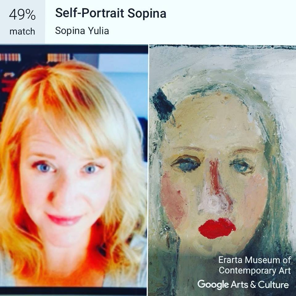 My very first try (using a recent bio picture) yielded an intriguing match-- one that had me going down a rabbit hole of research into an artist I had never hear of.