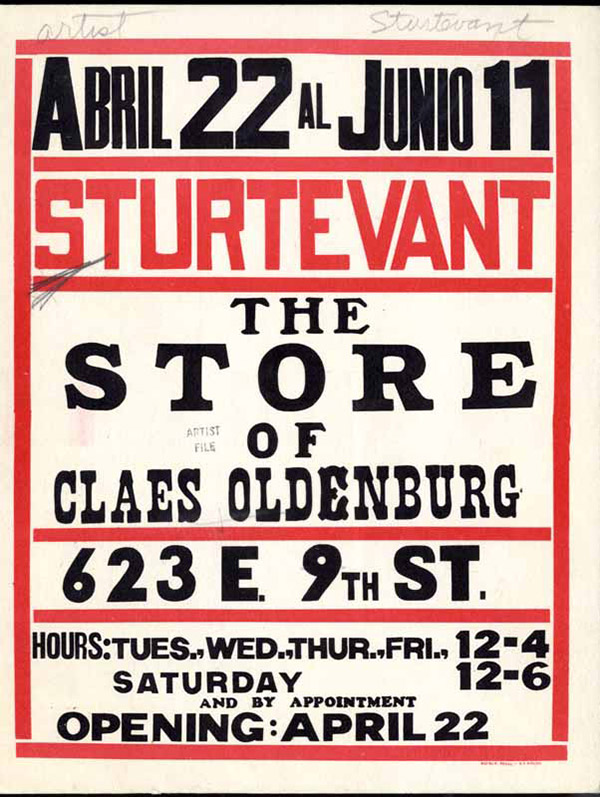 Pop sculpture and installation artist Claes Oldenburg celebrates his 89th birthday today. This poster is connected to Oldenburg's infamous  The Store  project (1961)when he decided to subvert the practice of selling art in the the traditional spaces of the art gallery, and instead opened his own temporary storefront on the Lower East Side of New York to sell his work. We could call him the father of the pop-art store!  Archival image courtesy of MOMA