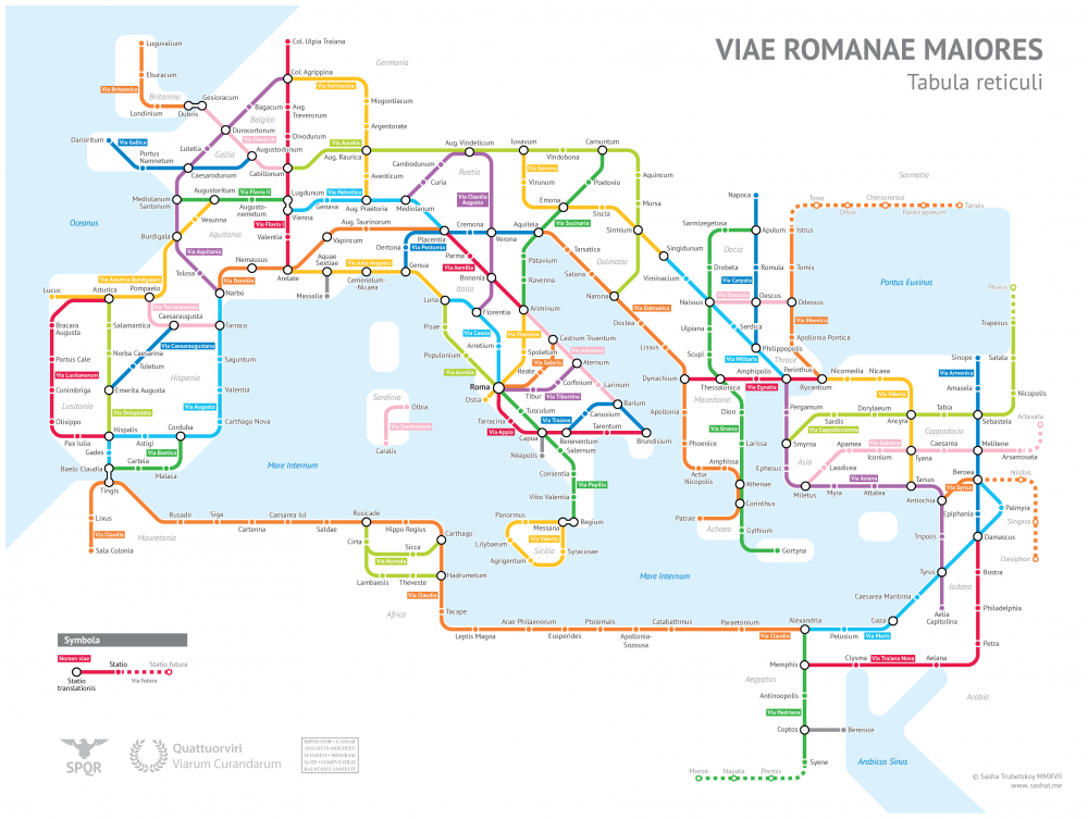 """""""Ancient Rome's System of Roads Visualized in the Style of Modern Subway Maps"""""""