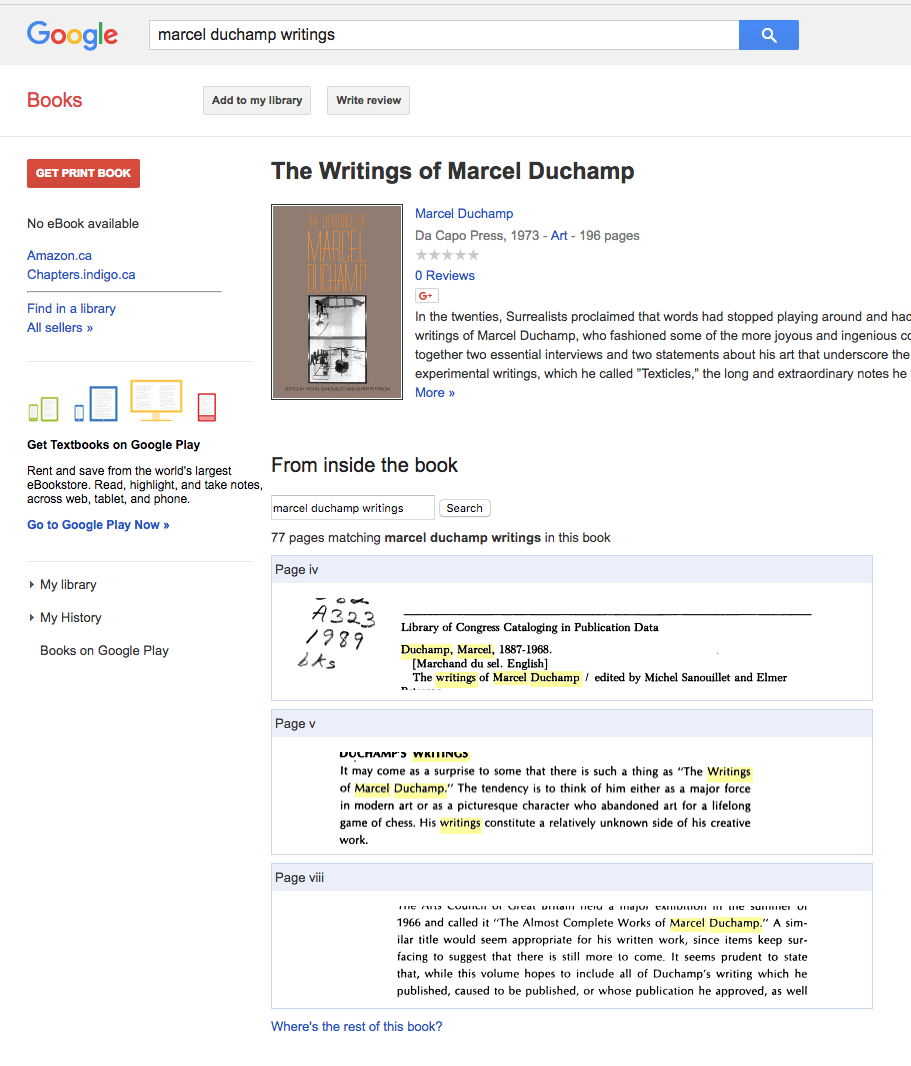 """A book of Duchamp's writings foundon Google Books (many pages """"missing"""" though)"""
