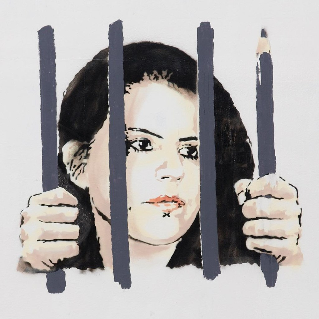 Detail from  Banksy's new mural  that appeared in New York this past week depicting the imprisonment of Turkish journalist Zehra Doğan.