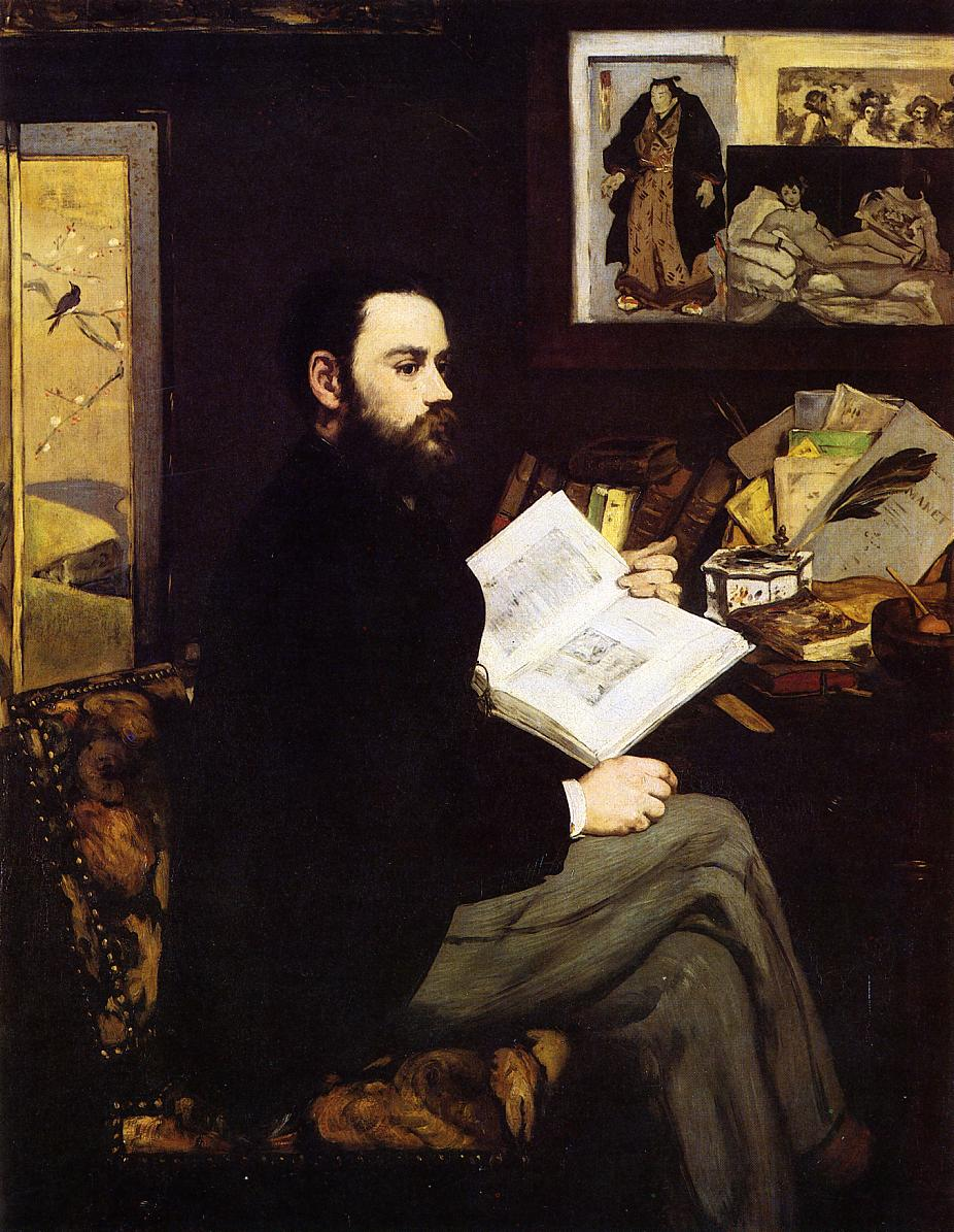 Edouard Manet, Portrait of Emile Zola  (1868). Note the presence of Ukiyo-e prints on the far left and upper right register of Manet's painting-- a nod to the fashionable Japanese print culture that was part of the Paris urban scene from the mid to late 19th century.