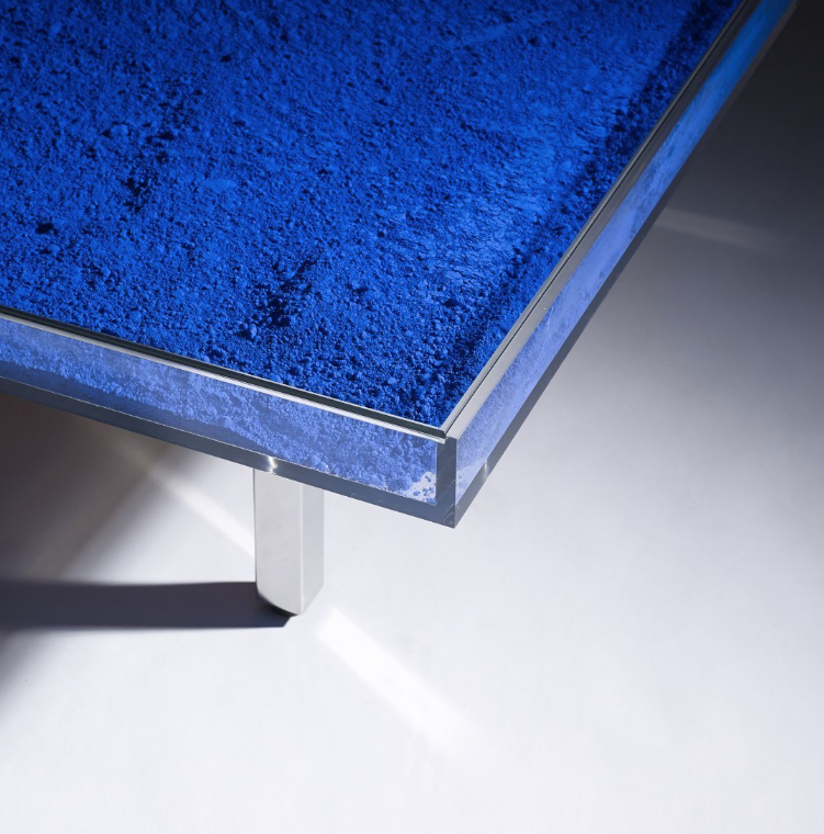 """Yves Klein,  Table Bleu Klein ( 1963/2014) , International Klein Blue pigment, glass, plexiglass, wood, and steel. If alive today, Klein would be celebrating his 90th birthday. From Artsy: """"This iconic table is from an edition begun in 1963 under the supervision of Yves Klein's widow, Rotraut Klein-Moquay, based on a model he designed in 1961. The artist died in 1962 and other than the two models owned by his estate there are no vintage tables in this edition. From 1963 to the present, the Yves Klein Estate in Paris, France has overseen the production of this coffee table edition."""""""