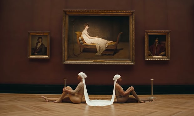 "Two black dancers posing as maid servants in front of a portrait of David's  Madame Récamier  (1800) in Beyoncé and Jay-Z's ""Apeshit"" video debuting earlier this week."