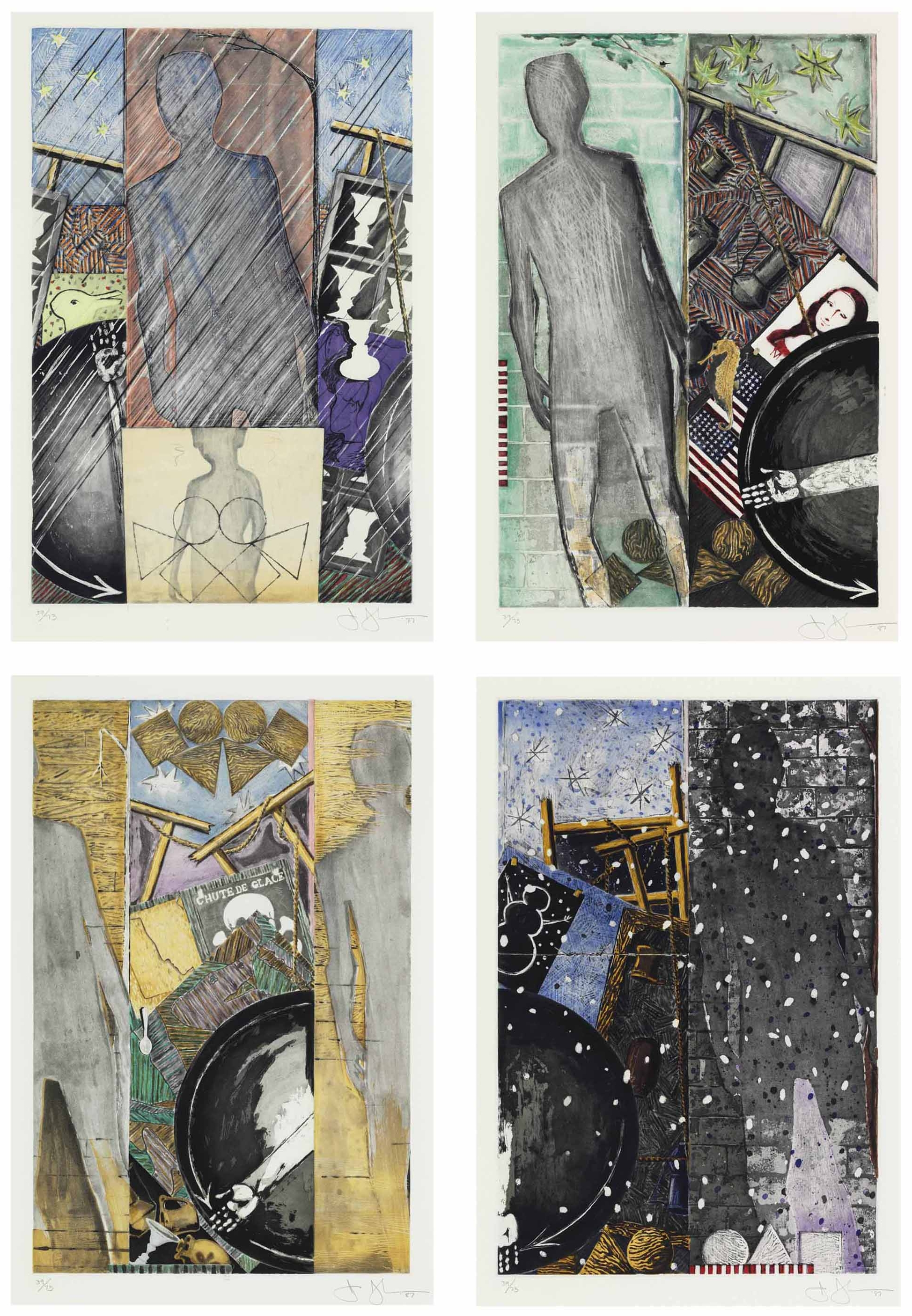 """Jasper Johns,  The Seasons: Spring, Summer, Fall, Winter  (1987). From the  Metropolitan Museum of Art : """"These four prints of The Seasons explore artifacts and seasonal symbols to represent the epochs of life and the cycles of growth and aging. The works review many motifs used previously in Johns's work - e.g. the arm in a partial circle rotates like a clock through these panels. Optical illusions such as duck/rabbit or old woman/young woman in """"Spring"""" explore the nature of seeing and experience. In """"Fall,"""" a profile of Marcel Duchamp (a spiritual and artistic mentor to Johns) is included next to a skull and crossbones from a Swiss sign warning of avalanche danger, a reminder of mortality. The Seasons also incorporates elements of more reflective imagery that emerged in his work in the 1980s. A scaled down version of the artist's own shadow refers to Johns's meditation on his own path."""""""
